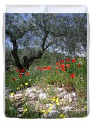 Wild Flowers And Olive Tree Duvet Cover