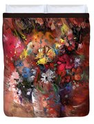 Wild Flowers Bouquet In A Terracota Vase Duvet Cover