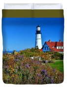 Wild Flowers Fading At The Portland Head Light Duvet Cover