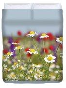 Wild Flowers Field Nature Spring Scene Duvet Cover