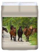 Wild Horses Of Corolla Duvet Cover