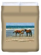 Wild Horses Of The Outer Banks Duvet Cover