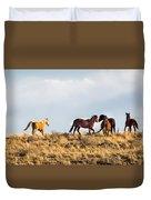 Wild Horses On The Bisti Duvet Cover
