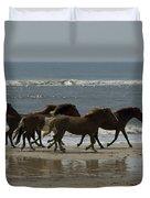 Wild  Horses Run On The Beach Duvet Cover