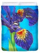 Wild Iris Art By Sharon Cummings Duvet Cover