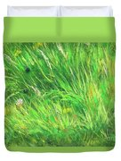 Wild Meadow Grass Structure In Bright Green Tones, Painting Detail. Duvet Cover