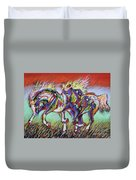 Wild Pastel Ponies Duvet Cover by Louise Green