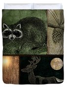 Wild Racoon And Deer Patchwork Duvet Cover
