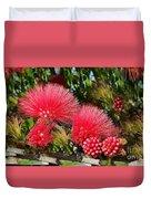 Wild, Red Fluffy Flowers  Duvet Cover