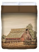 Wild West Barn And Hay Wagon Duvet Cover