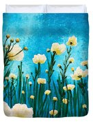 Poppies In The Blue Sky Duvet Cover