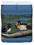 Wild Wood Ducks On A Log Duvet Cover