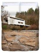 Wildcat Bridge In Winter Duvet Cover by Mary Jo Allen