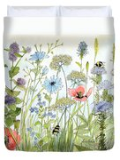 Wildflower And Bees Duvet Cover