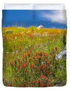 Wildflower Meadow With Indian Paintbrush Duvet Cover