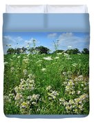 Wildflowers Along Country Road In Mchenry County Duvet Cover