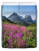 Wildflowers And A Glacier Duvet Cover