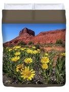 Wildflowers And Butte Duvet Cover