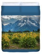 Wildflowers And Mount Moran Duvet Cover