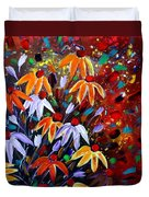 Wildflowers At Sunset Duvet Cover