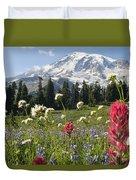 Wildflowers In Mount Rainier National Duvet Cover