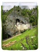 Wildflowers On Hillside At Predjama Castle 1570 Renaissance Fort Duvet Cover