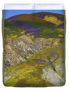 Wildflowers Up The Hills Of Temblor Range At Carrizo Plain National Monument Duvet Cover