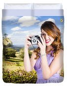 Wildlife Photographer Shooting Insects And Nature Duvet Cover