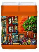 Wilensky Diner Little League Expo Kids Baseball Painting Montreal Scene Canadian Art Carole Spandau  Duvet Cover