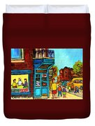 Wilensky's Counter With School Bus Montreal Street Scene Duvet Cover
