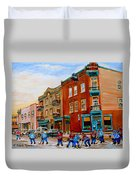 Wilenskys Diner Hockey Game In Progress Duvet Cover