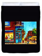 Wilensky's Lunch Counter With School Bus Montreal Street Scene Duvet Cover