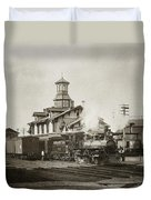 Wilkes Barre Pa. New Jersey Central Train Station Early 1900's Duvet Cover