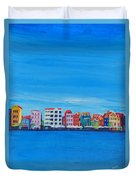 Willemstad Curacao Waterfront In Blue Duvet Cover