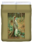 William Henry Margetson, Woman In A Spring Landscape. Duvet Cover