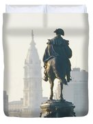 William Penn And George Washington - Philadelphia Duvet Cover by Bill Cannon