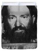 Willie Nelson Mug Shot Vertical Black And White Duvet Cover