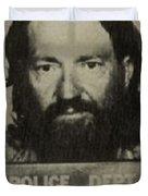 Willie Nelson Mug Shot Vertical Sepia Duvet Cover