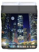 Willis Tower And Moon Duvet Cover