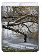 Willow Tree On The Frozen Lake Detail Duvet Cover