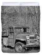 Willys Jeep Pickup Truck Monochrome Duvet Cover