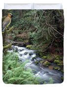 Wilson Creek #14 With Added Cedar Waxwing Duvet Cover