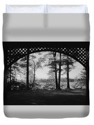 Wilson Pond Framed In Black And White Duvet Cover
