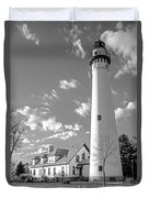 Wind Point Lighthouse And  Old Coast Guard Keepers Quarters.   Black And White Duvet Cover