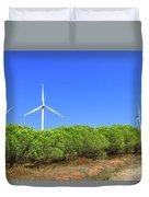 Wind Turbines Landscape Duvet Cover