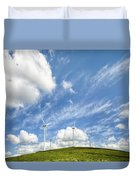 Wind Turbines On A Hill Under A Blue Sky Duvet Cover
