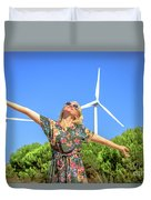 Wind Turbines Woman Duvet Cover