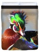 Windblown Wood Duck Duvet Cover