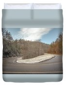 Winding Country Road In Winter Duvet Cover
