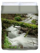 Winding Creek With A Mossy Log Duvet Cover